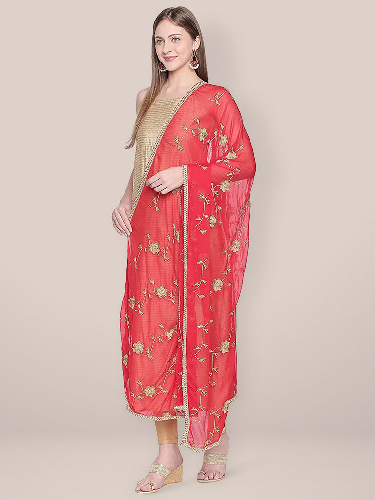 Embroidered Red Chiffon dupatta with Gold border.