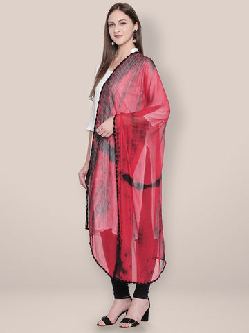 Shibori Dyed Red & Black Chiffon dupatta..