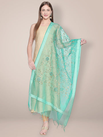 Gold Embroidered Sea Green Organza Dupatta