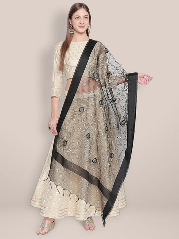 Gold Embroidered Black Organza Dupatta