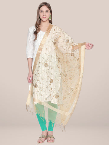 Dupatta Bazaar Woman's Gold Embroidered Organza Dupatta - Dupatta Bazaar