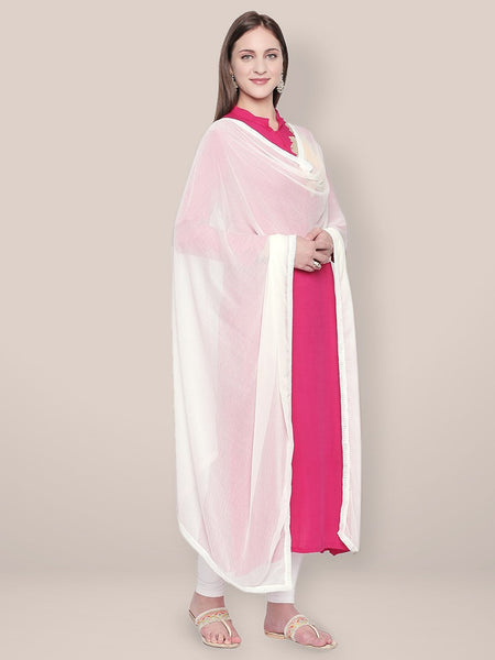 Plain White Chiffon Dupatta with border lace