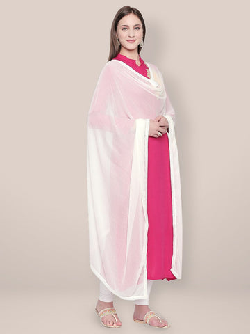 Off White Chiffon Dupatta with border lace