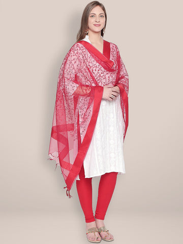 Embroidered Red Organza Dupatta