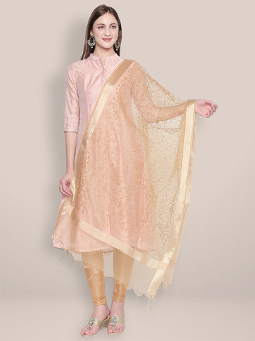 Dupatta Bazaar Woman's Embroidered Gold Organza Dupatta - Dupatta Bazaar