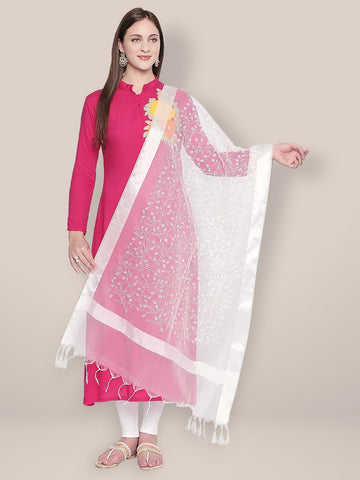 Embroidered White Organza Dupatta