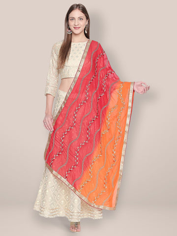 Dupatta Bazaar Woman's Embroidered Red and Orange Chiffon Dupatta.