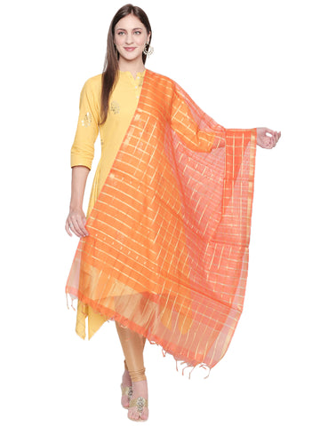 Dupatta Bazaar Woman's Orange and Gold Blended Silk Dupatta. - Dupatta Bazaar