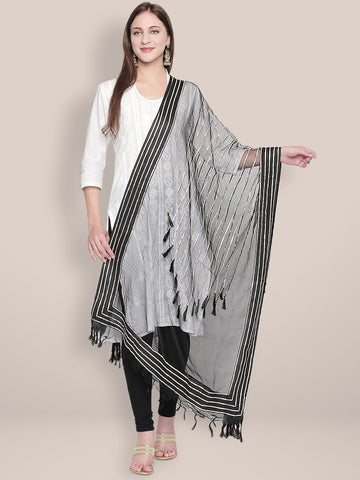Black Organza Dupatta with Gotta lace.