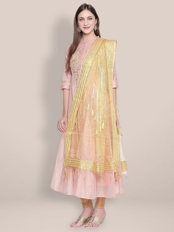 Dupatta Bazaar Woman's Gold Organza Dupatta with Gotta lace.
