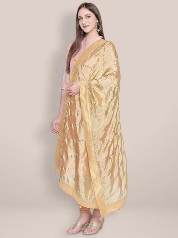 Gold Art Silk Dupatta with Gotta lace.