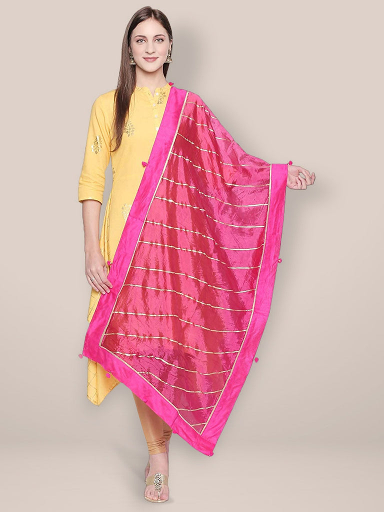 Pink & Gold Art Silk Dupatta with Gotta lace.