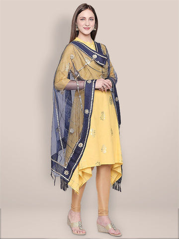 Navy Blue Organza Dupatta with Gotta Patti Work.