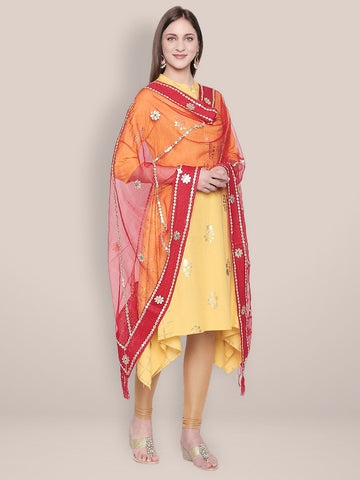 Red Organza Dupatta with Gotta Patti Work.