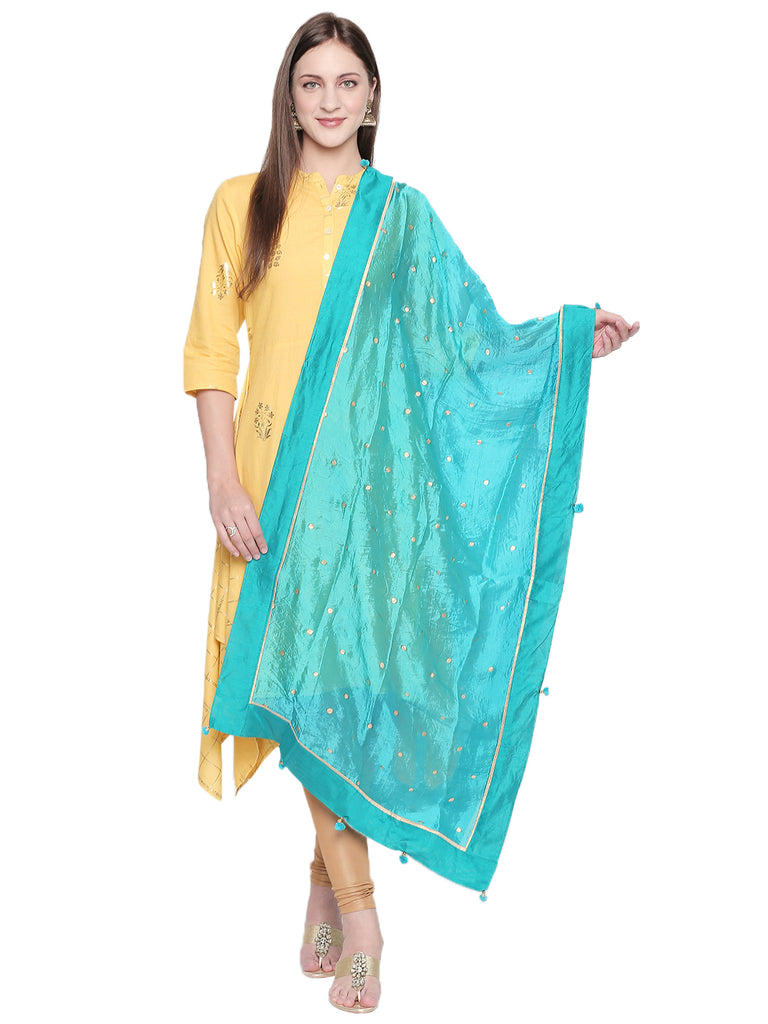Dupatta Bazaar Woman's Printed Turquoise Blue and Gold Art Silk Dupatta. - Dupatta Bazaar