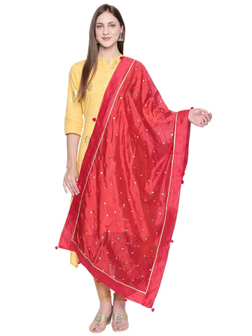 Dupatta Bazaar Woman's Printed Red and Gold Art Silk Dupatta. - Dupatta Bazaar