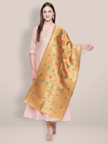 Gold & Multicoloured Art Silk Stole/ Dupatta.