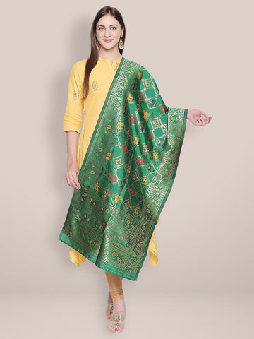 Green & Multicoloured Banarasi Art Silk  Dupatta.
