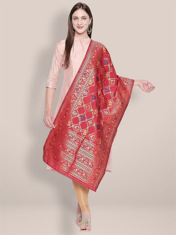 Red & Multicoloured Banarasi Art Silk Stole/ Dupatta.