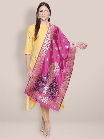 Pink & Multicoloured Art Silk Stole/ Dupatta.
