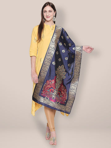 Blue & Multicoloured Art Silk Stole/ Dupatta.