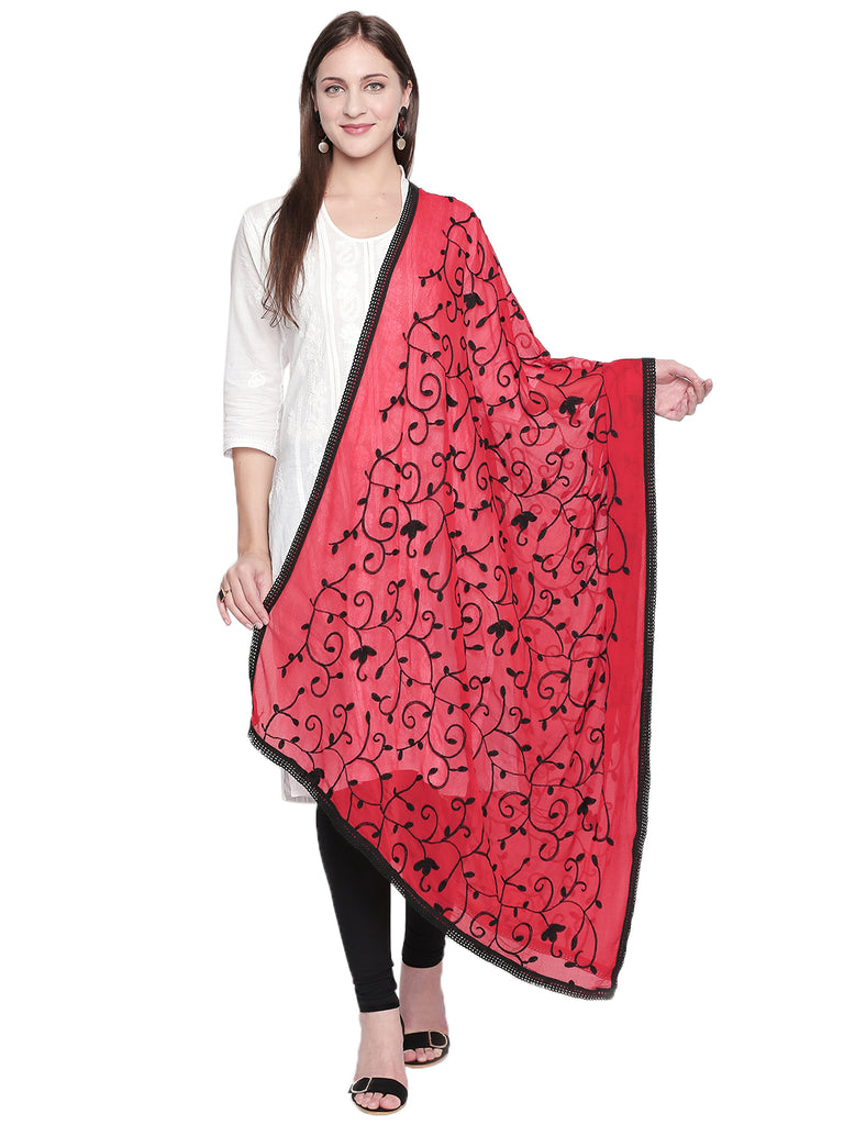 Dupatta Bazaar Women's Embroidered Red and Black ChiffonDupatta - Dupatta Bazaar