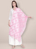 Lucknowi Embroidered Baby Pink Net Dupatta