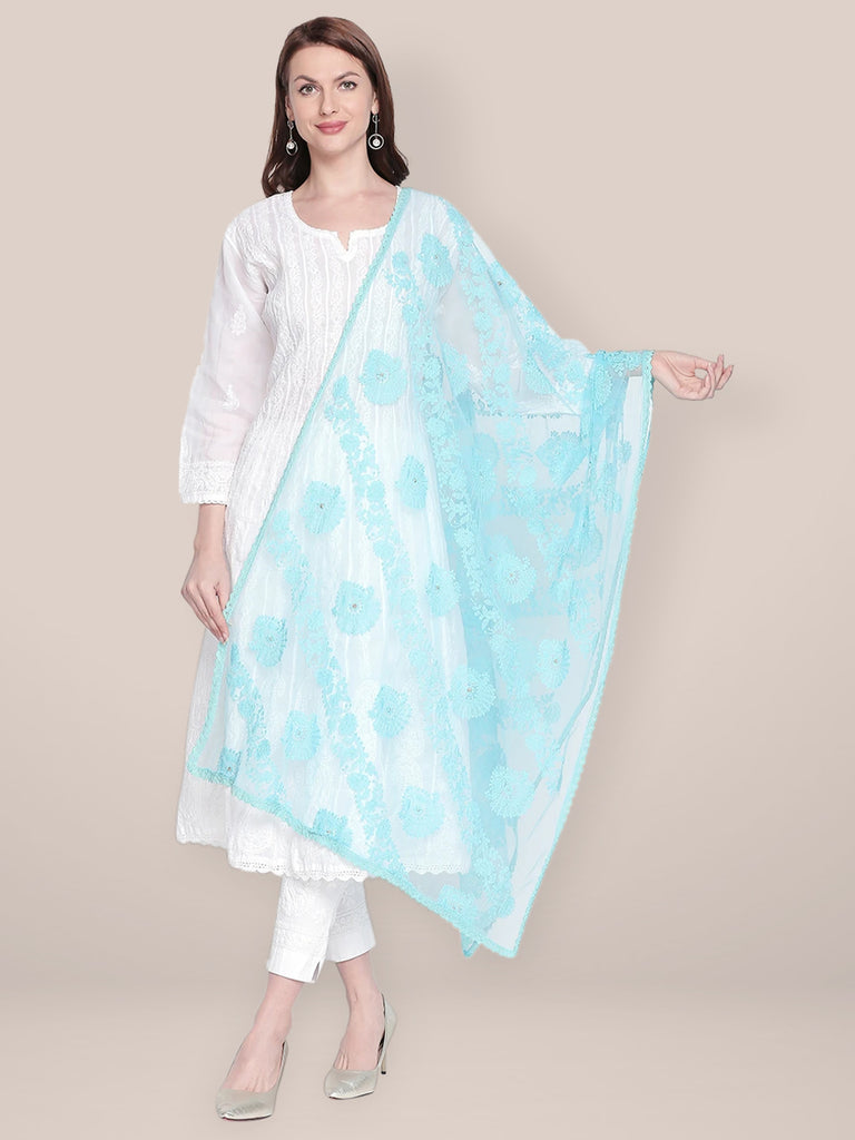 Lucknowi Embroidered Sky Blue Net Dupatta