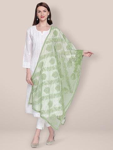 Lucknowi Embroidered Mehendi Green Net Dupatta