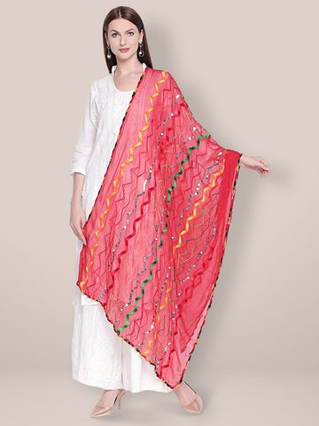 Dupatta Bazaar Woman's Red & Multicoloured Embroidered Chiffon Dupatta - Dupatta Bazaar