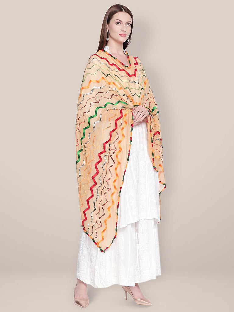 Beige & Multicoloured Embroidered Chiffon Dupatta