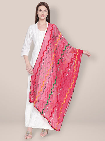 Dupatta Bazaar Woman's Pink & Multicoloured Embroidered Chiffon Dupatta - Dupatta Bazaar