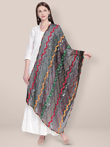Dupatta Bazaar Woman's Black & Multicoloured Embroidered Chiffon Dupatta - Dupatta Bazaar