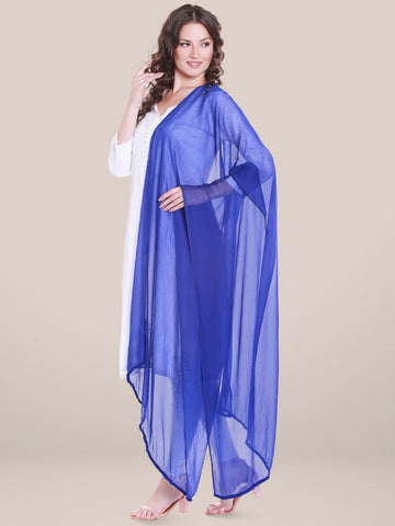 Blue Chiffon Dupatta with lace.