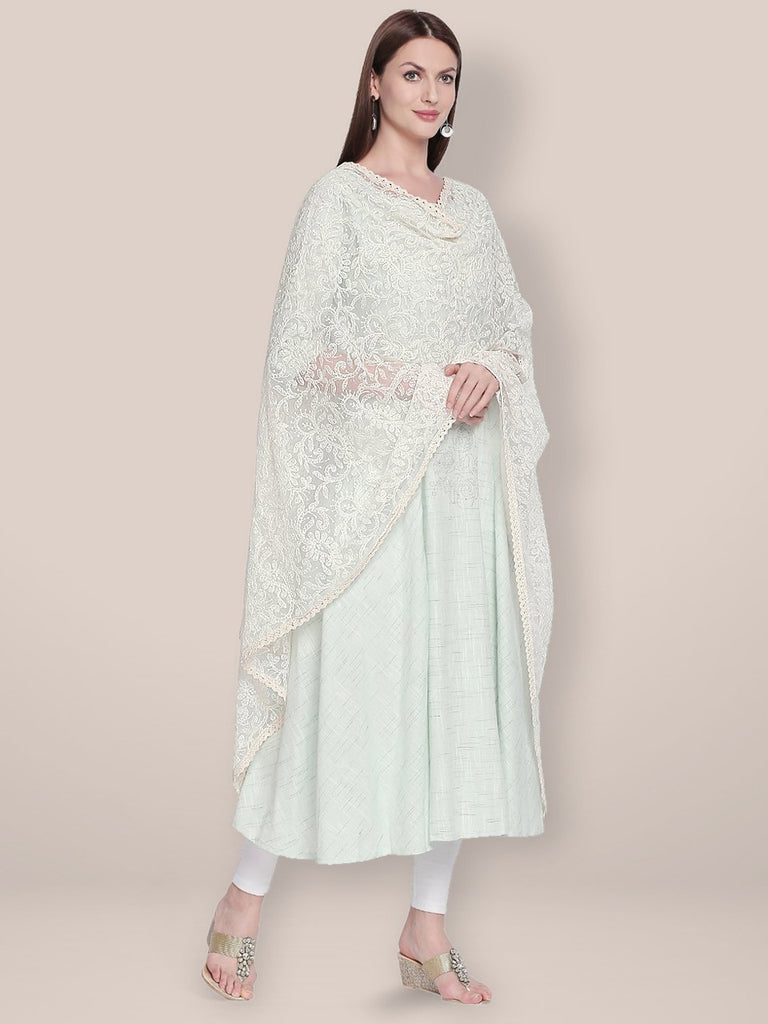 Lucknowi Embroidered Off White Net Dupatta