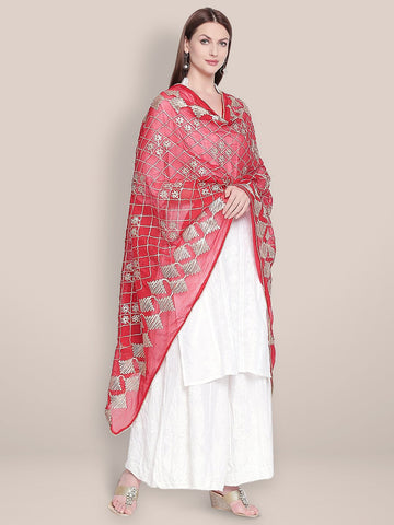 Red Chiffon Dupatta with Gotta Work