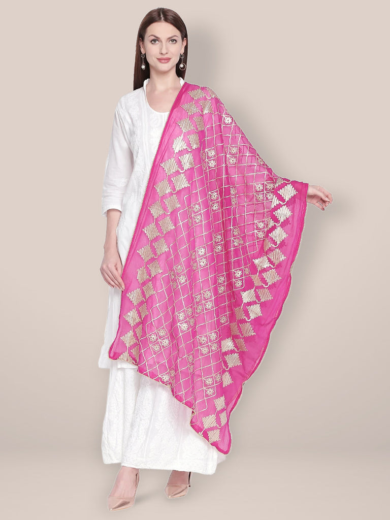 Pink Chiffon Dupatta with Gotta Work