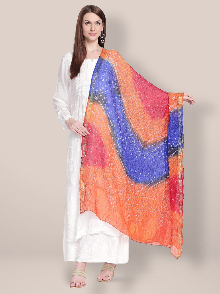 Blue & Orange Bandhini Dupatta