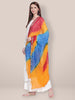 Yellow, Blue & Red Bandhini Dupatta
