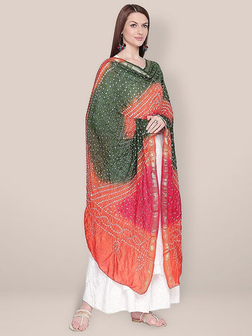 Orange, Mehendi Green & Red Bandhini Dupatta