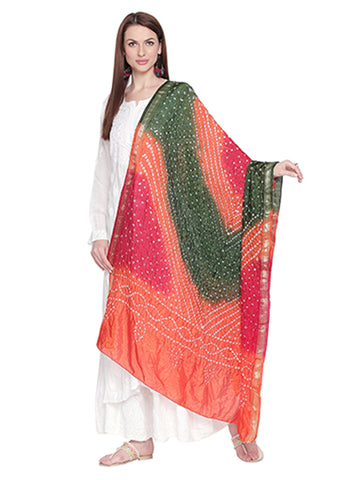 Dupatta Bazaar Woman's Orange, Mehendi Green & Red Bandhini Dupatta - Dupatta Bazaar