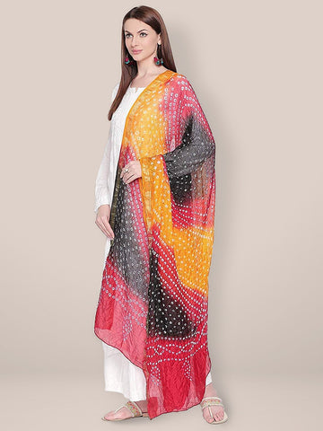 Red, Yellow & Black Bandhini Silk Dupatta