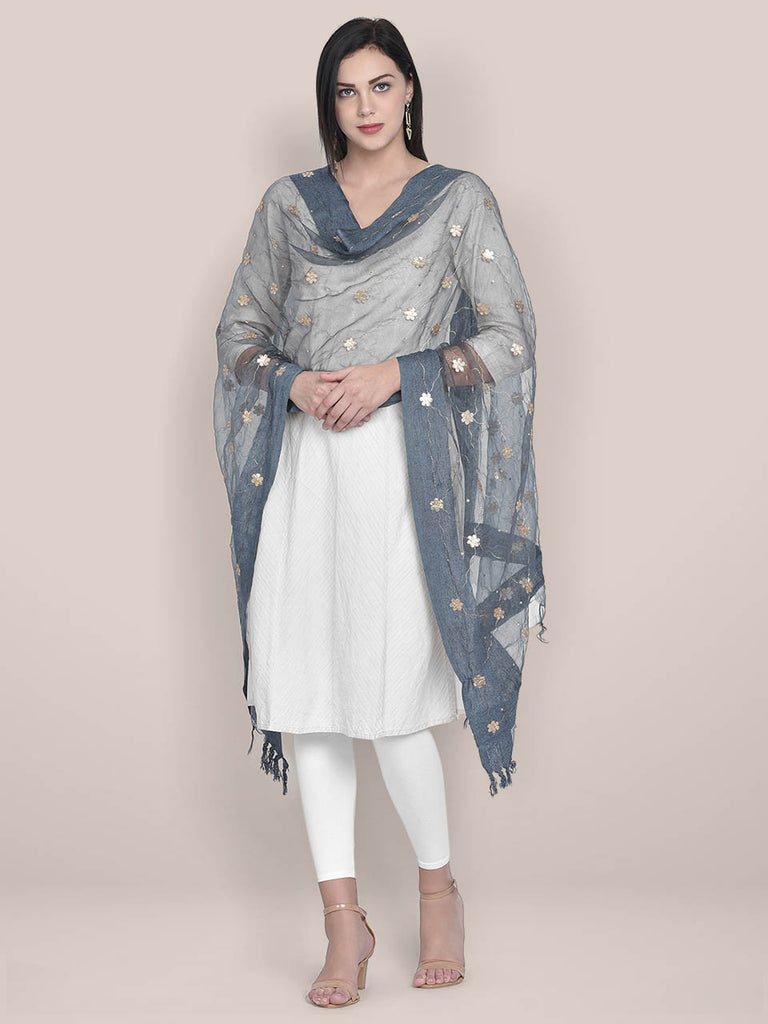 Grey Organza dupatta with Gotta Patti Work
