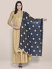 Ink Blue Chiffon dupatta with Gold Embroidery.