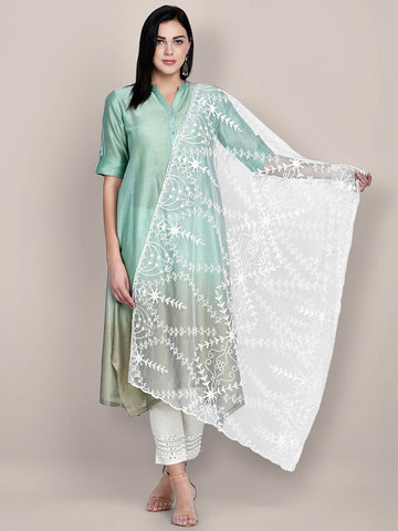 Embroidered White net Dupatta