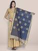 Dupatta Bazaar Woman's Embroidered Blue & Gold Blended Silk dupatta