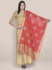 Dupatta Bazaar Woman's Embroidered Red & Gold Blended Silk dupatta