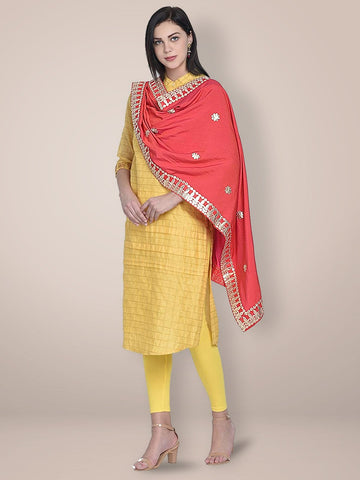Red Silk Dupatta with Gotta Patti Work.