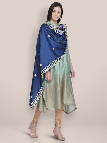 Blue Silk Dupatta with Gotta Patti Work.