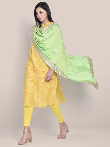 Dupatta Bazaar Woman's Lime Green & Gold Silk Dupatta with Gotta Patti Work.